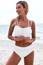 Lace Up White Detail Bikini High Waist