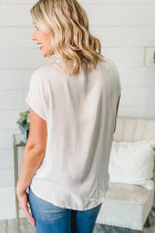 White V Neck Lace Patchwork Tee bi Knot