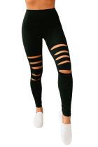 شلوارهای ساق بلند فعال تناسب اندام Black Hollow Out Fitness