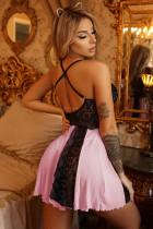 Sladká růžová krajková noční košilka