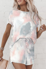 Grey Tie Dye Tee And Shorts Set