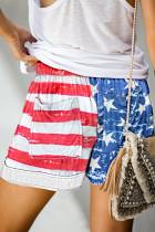 미국 국기 졸라 매는 끈 우연한 탄력있는 허리 포켓 반바지