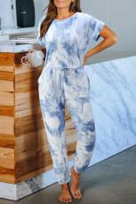 Blå Pocketed Tie-dye Knit Jumpsuit