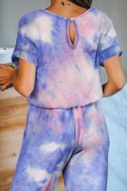 Flerfarget Pocketed Tie-dye Knit Jumpsuit