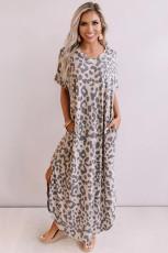 Avslappet Leopard Maxi kjole med sprekker