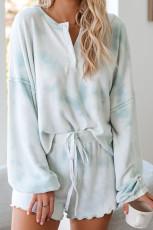 Tûma Blueînê Tiya Dye ya Pajamasên Girêdayî