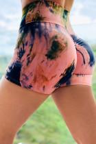 Pink Tie-dye Print Booty Yoga Shorts