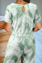 Green Pocketed Tie-dye Knit Jumpsuit