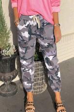 Pantaloni jogging mimetici al neon in vita grigio elastico