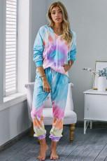 Wielokolorowa bawełniana bluza z kapturem w kolorze utopii z długimi rękawami