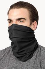 Czarny ochraniacz na szyję wspinaczkowy na twarz