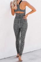 Grey Cheetah Print Sport Bra Pants Set