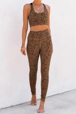 Brunt Cheetah Print Sport Bra Pants Set