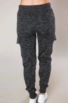 Pantaloni sportivi casuali neri mélange