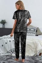 黒絞り染めTシャツパンツPJセット