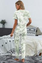 Grüne Batik T-Shirt Hose PJ Set