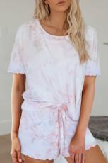 Společenská sada kraťasů s krátkým rukávem Pink Tie Dye