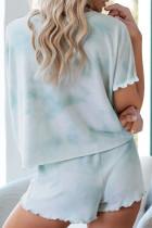 Ensemble lounge short à manches courtes bleu ciel Tie Dye