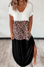 Colorblock Leopard Cotton Blend Casual Maxi T-skjorte kjole