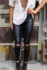 Schwarze dünne Leggings aus Kunstleder