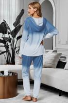 Niebieska utopia z mieszaną bawełnianą bluzą z kapturem Joggers Loungewear