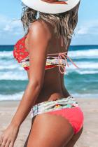 Bikini multicolor bohemien con stampa tropicale