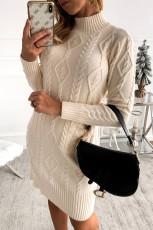 Béžové šaty s dlouhým výstřihem s dlouhým výstřihem