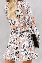 Aprikos V-hals lyktens ermer Blomster Tunika kjole