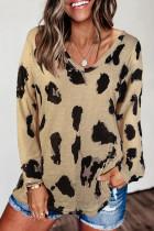 Blouse çapkirinê ya Sleeves Leopard dirêj
