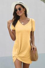 Yellow Triblend Side Knot Dress