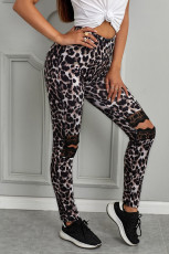 شلوارک گل توخالی Out Leopard از شلوارهای شلوار لاغر چاپ شده است