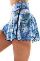 Niebieskie, dwupoziomowe sportowe spodenki z wysokim stanem typu tie-dye