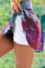 Fioletowe dwupoziomowe sportowe spodenki z wysokim stanem tie dye
