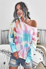 Rainbow Tie Dye Pullover Langarm-Top