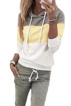 Khaki snøring Design Colorblock Hooded Top & Pant Set