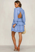 Sky Blue V Neck Ruffle με λεπτομέρειες Ανοιχτό πίσω φόρεμα