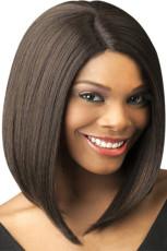 Perruque synthétique courte et droite marron
