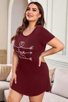 Mini-robe LET ME SLEEP imprimé graphique rouge vêtements de nuit grande taille
