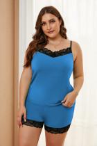 Blauer Pyjama in Übergröße mit Spitzenbesatz