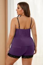 Fialová plus velikost pyžama s lemováním