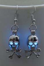 Kék Halloween koponya csillogás fülbevalók