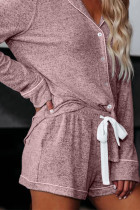 Loungewear rosa con coulisse manica lunga