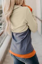 グレーカウルネックパンプキンプリントカラーブロックハロウィンスウェットシャツ