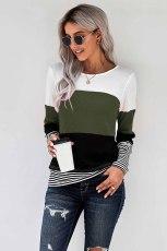 Grön snygg Colorblock Splicing Stripes Top