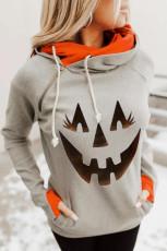 Felpa con cappuccio grigia zucca di Halloween