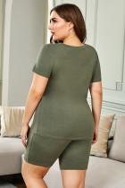 T-shirt et short vert grande taille à col en V