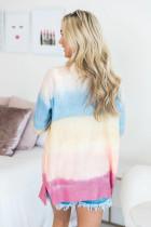 Duhový ombre zapnutý svetr s kapsami