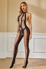Halter Neck Fishnet Backless Hollow-out Bodystocking
