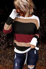 Červený pletený svetr Colorblock