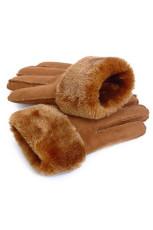 Gants d'hiver de mode doublés en peluche synthétique kaki